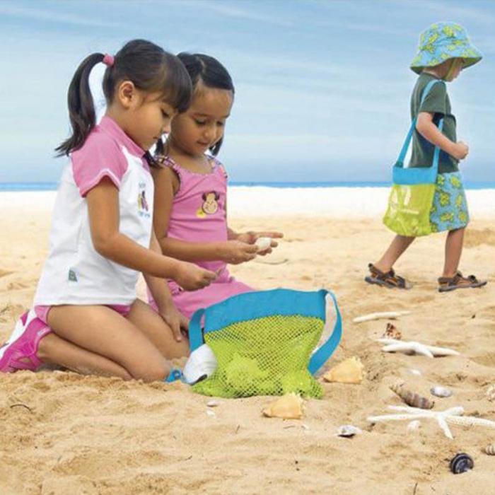 Set doua genti de plaja, din plasa, pentru parinte si copil [4]