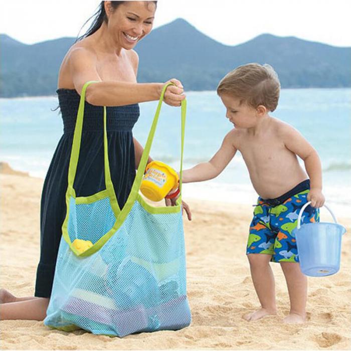 Set doua genti de plaja, din plasa, pentru parinte si copil [0]