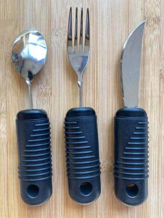 Set tacamuri ergonomice pentru batrani si persoane cu artrita, Parkinson, stransoare slaba, 21 x 4 cm [1]