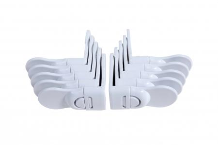 SET 10 sigurante fixe de colt pentru sertare alb4