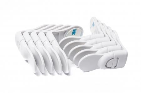 SET 10 sigurante fixe de colt pentru sertare alb5