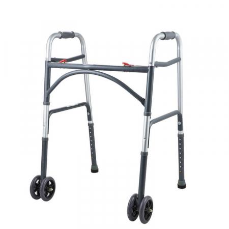 Cadru de mers XXL, pliabil, cu roti, ultra rezistent, ultra usor, ajustabil, din aluminiu