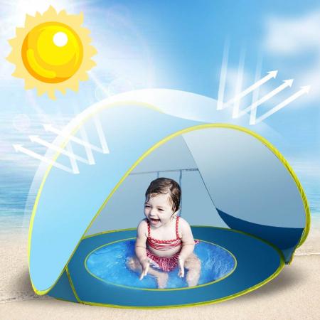 Cort de plaja cu protectie UV pentru bebelusi, 117x79x70 cm