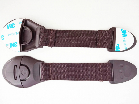 Set 10 sigurante flexibile textile pentru usi si sertare, 20 cm, Wenge1