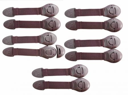 Set 10 sigurante flexibile textile pentru usi si sertare, 20 cm, Wenge0