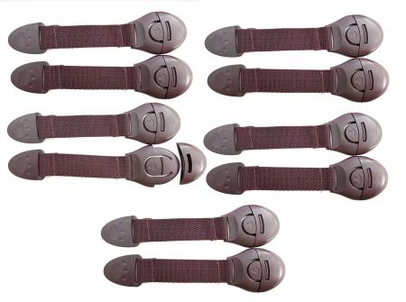 SET 10 sigurante flexibile textile pentru usi si sertare, 21 cm - Diverse culori0