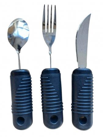 Set tacamuri ergonomice pentru batrani si persoane cu artrita, Parkinson, stransoare slaba, 21 x 4 cm [0]