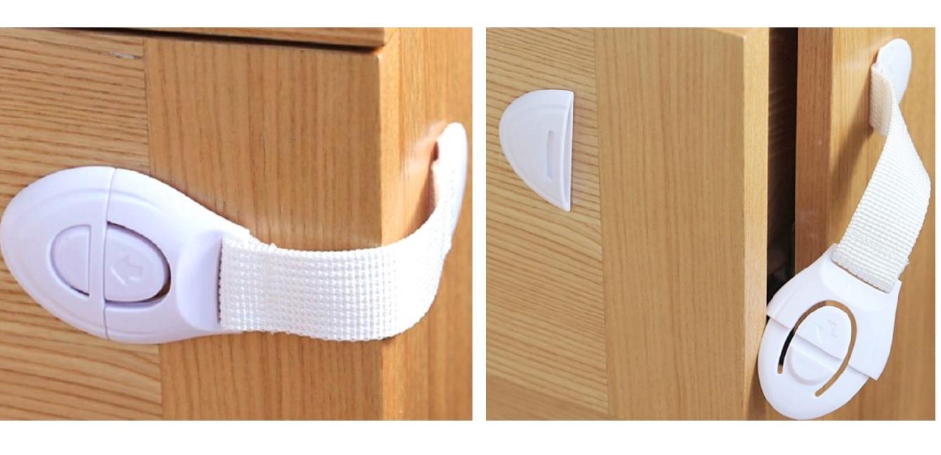Siguranta flexibila textila fixata si desfacuta pe un dulapior de lemn