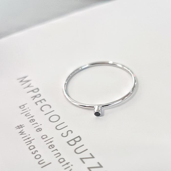 Inel Fire din poveste cu diamant natural negru 1,3 mm - aur 14k 0