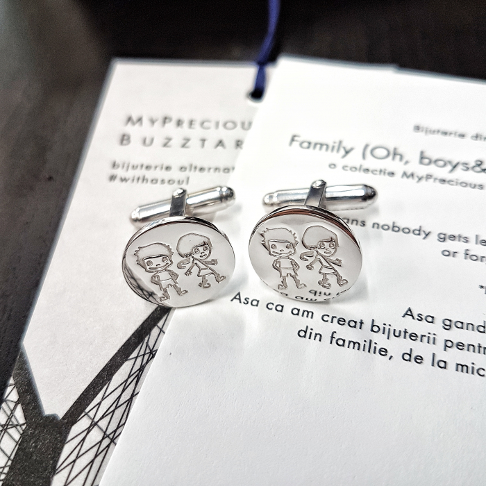 Butoni Family (Oh, boys&girls!) cu ban gravat copii - argint 925 0