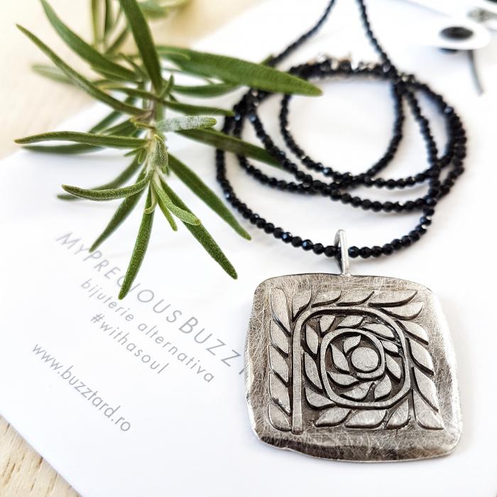 Pandant Fir de ROZmarin cu ban si simbol spirala - argint 925 0