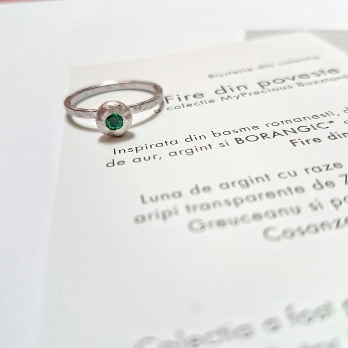 Inel Fire din poveste cu smarald natural - aur 14k 0