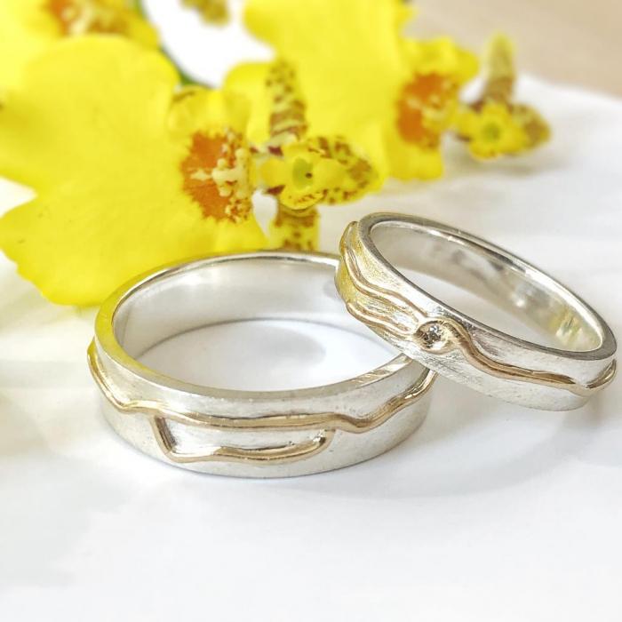Verighete I'MPERFECT - Fir de aur 14k si diamant natural - argint 925 1
