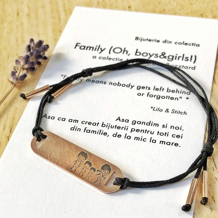 Bratara Family (Oh, boys&girls!) cu placa ovala gravata familie - aur 14k 0