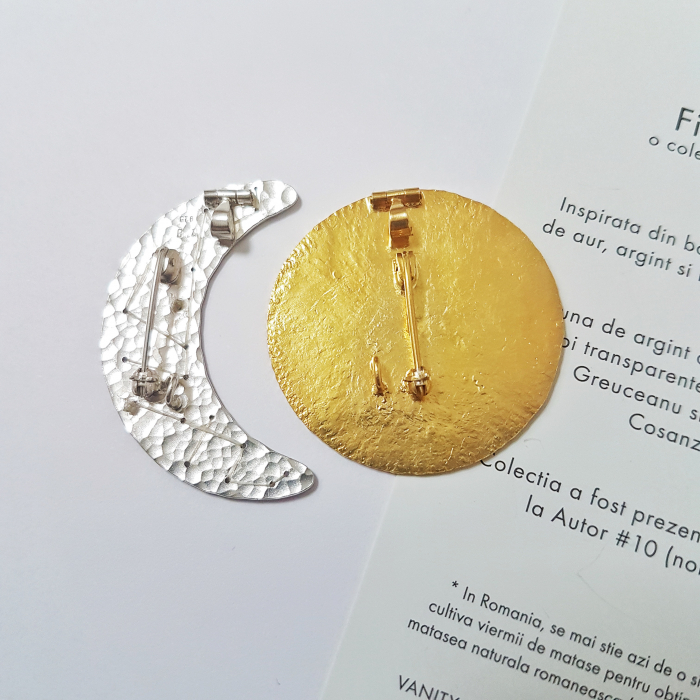 Brosa-Pandant Fibula - Soare si Luna - argint 925 2