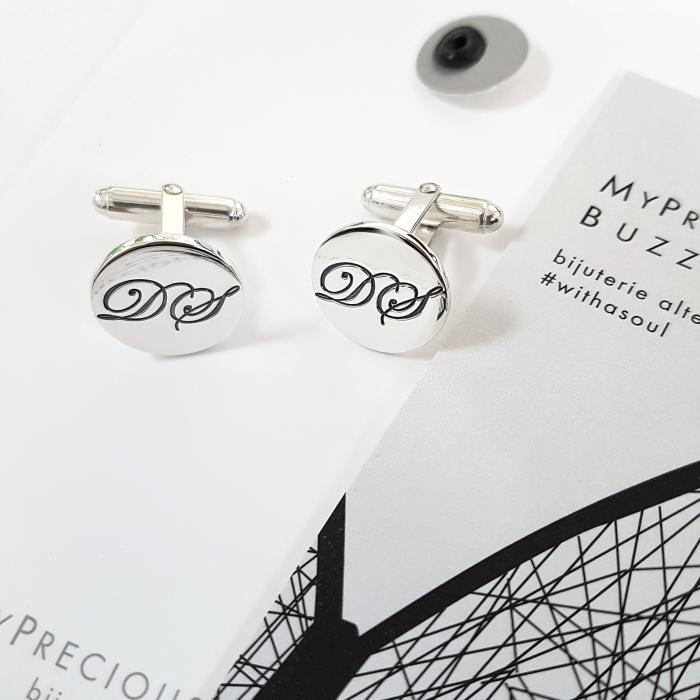 Butoni Custom Made cu ban personalizat initiale - argint 925 0