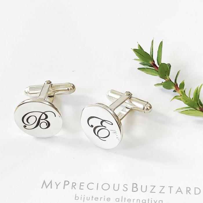 Butoni Custom Made cu ban personalizat initiale - argint 925 4