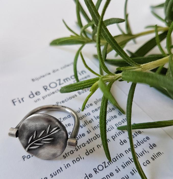 Inel Fir de ROZmarin cu ban care se invarte - argint 925 0
