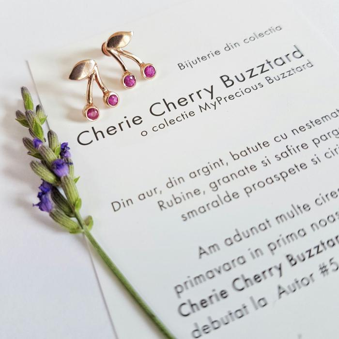 Cercei Cherie Cherry cu filet si cirese cu rubine - aur 14k 0
