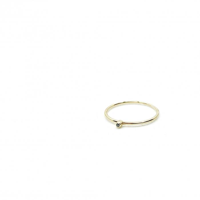 Inel Fire din poveste cu diamant natural negru 1,3 mm - aur 14k 3