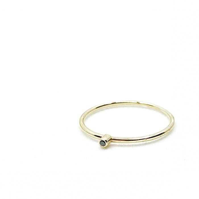 Inel Fire din poveste cu diamant natural negru 1,3 mm - aur 14k 4