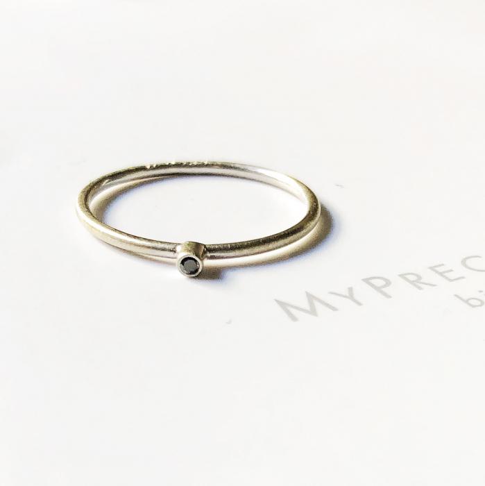 Inel Fire din poveste cu diamant natural negru 1,3 mm - aur 14k 6