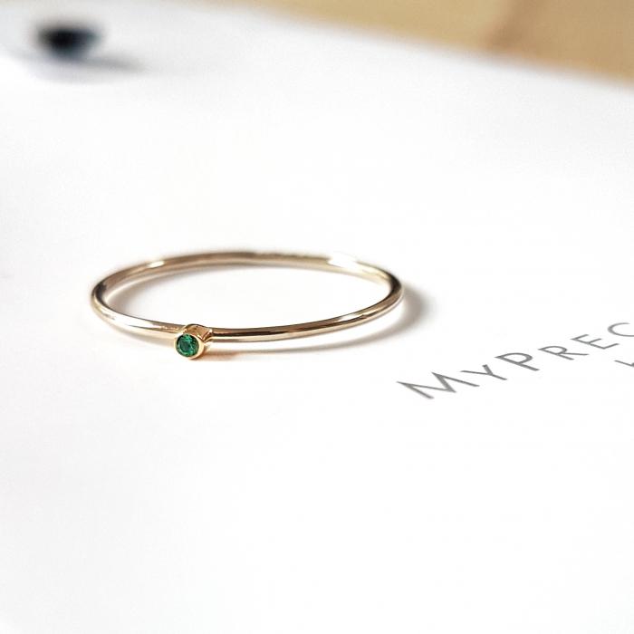 Inel Fire din poveste cu smarald natural 1,3 mm - aur 14k 0