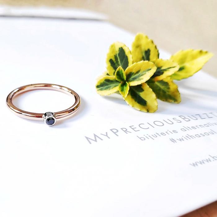 Inel Fire din poveste cu diamant natural negru 2,2 mm - aur 14k 0