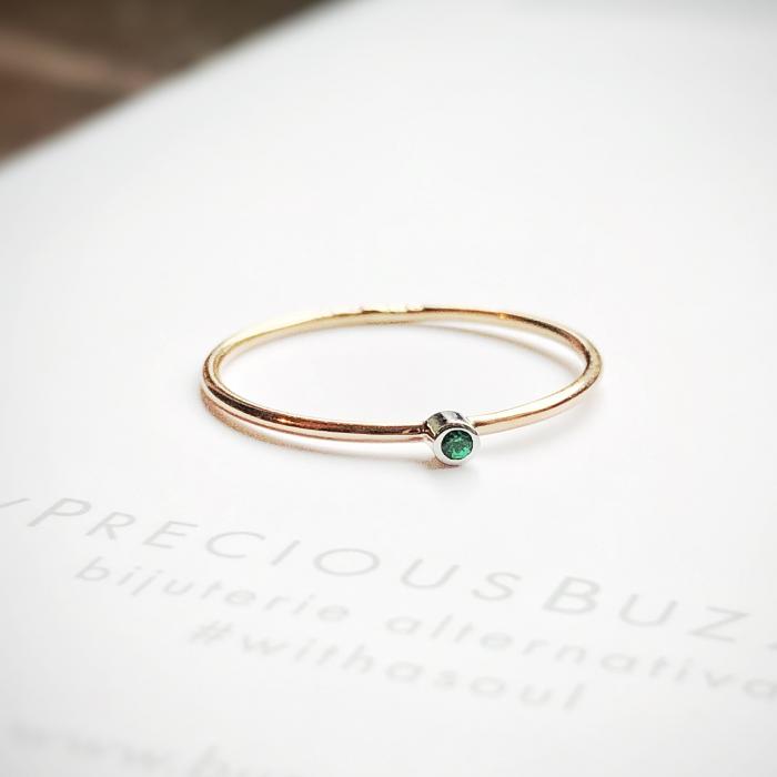 Inel Fire din poveste cu smarald natural 1,3 mm - aur 14k 1