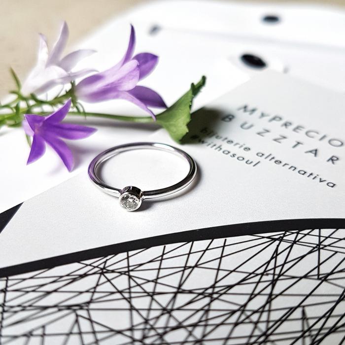 Inel Fire din poveste cu diamant natural 3,2 mm - aur 14k 0