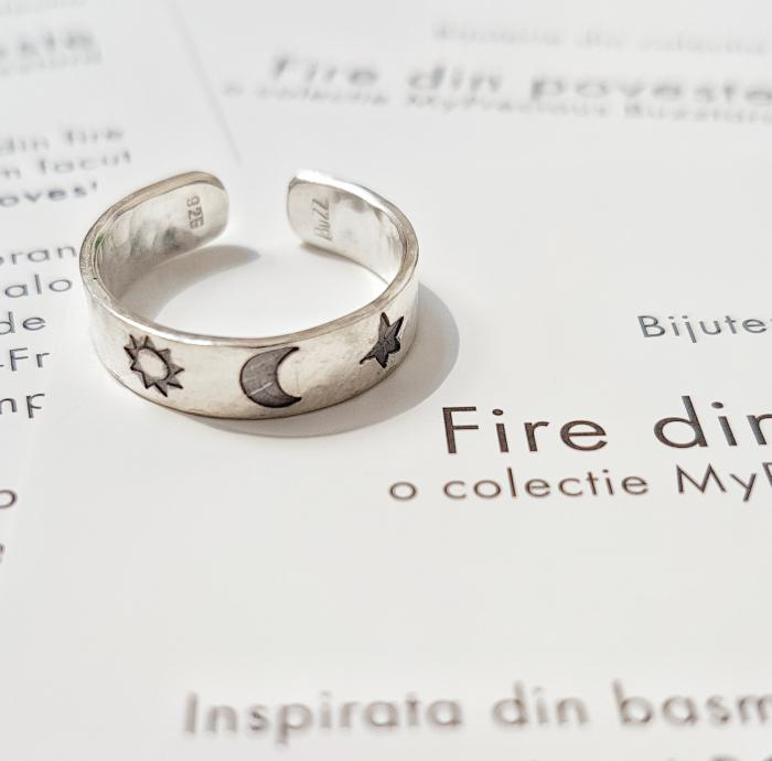 Inel Fire din poveste cu soare, luna si stea - argint 925 0
