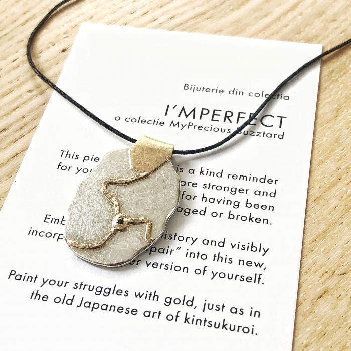Pandant I'MPERFECT - argint 925, fir de aur 14k si diamant natural 0