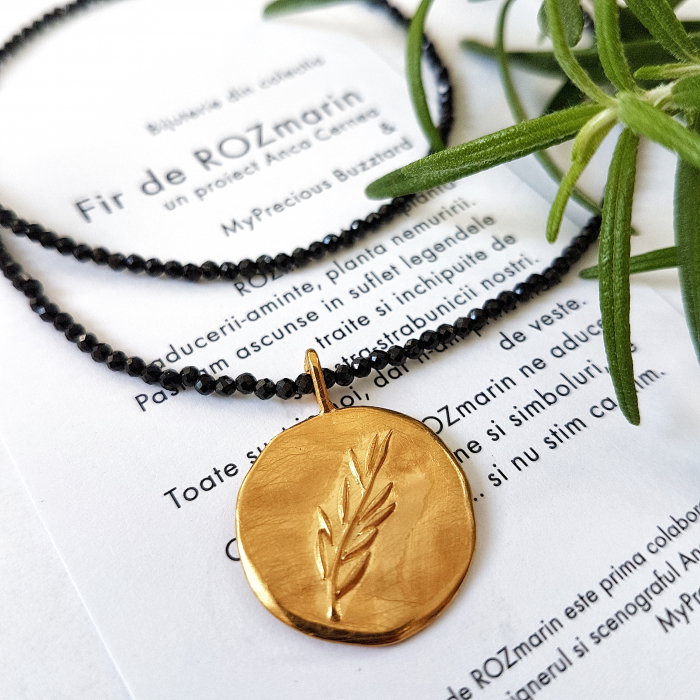 Pandant Fir de ROZmarin cu ban - argint 925 aurit 0