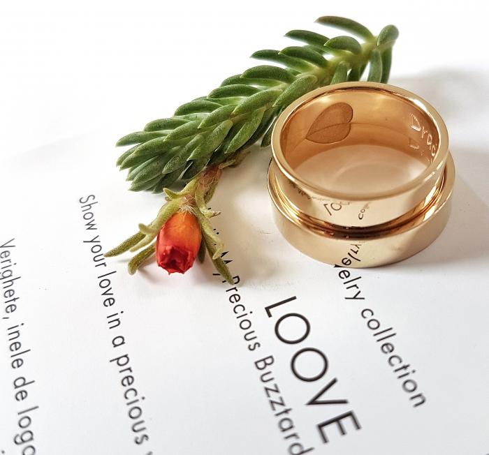 Verighete Loove - Plate cu muchii drepte si inima gravata - aur 14k 1