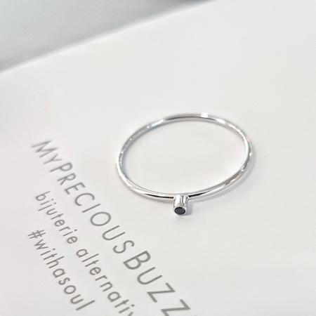 Inel Fire din poveste cu diamant natural negru 1,3 mm - aur 14k0