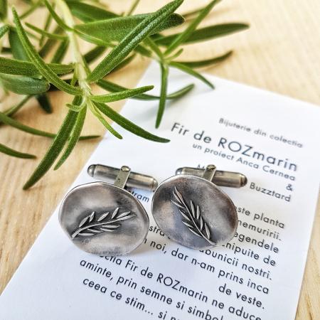 Butoni Fir de ROZmarin cu ban - argint 9250