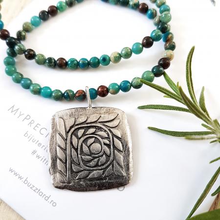 Pandant Fir de ROZmarin cu ban si simbol spirala - argint 9250