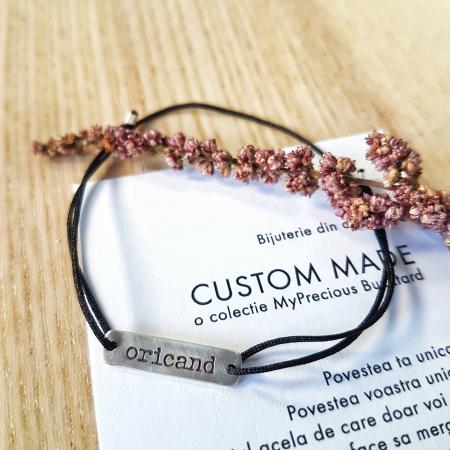 Bratara Custom Made placa dreptunghiulara - argint 9250