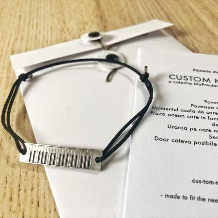 Bratara Custom Made placa dreptunghiulara - argint 9252