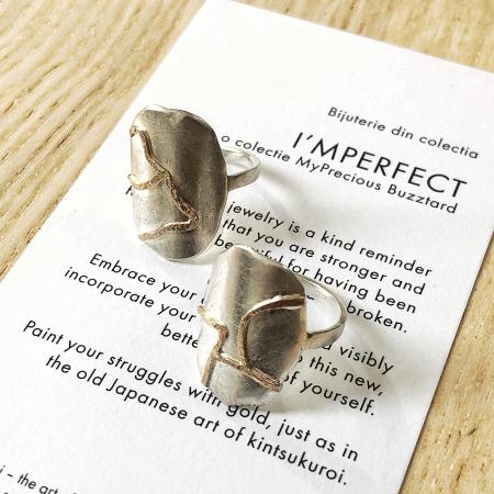 Inel I'MPERFECT cu oval - argint 925 si fir de aur 14k1