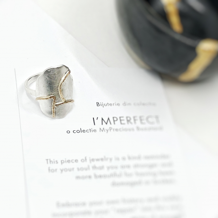 Inel I'MPERFECT cu oval - argint 925 si fir de aur 14k0