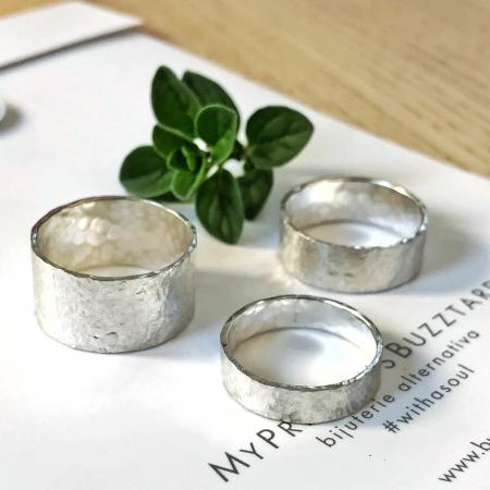 Inel Fire din poveste ciocanit - argint 9250