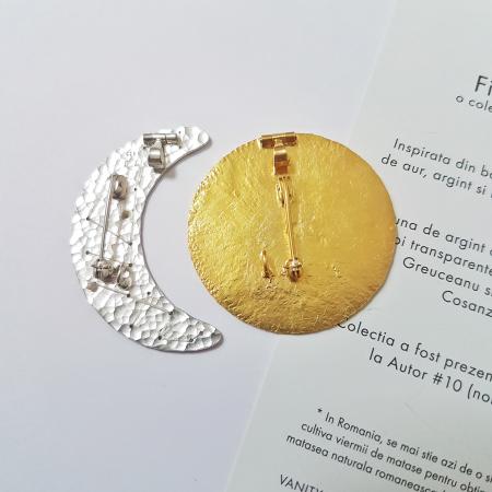 Brosa-Pandant Fibula - Soare si Luna - argint 9252