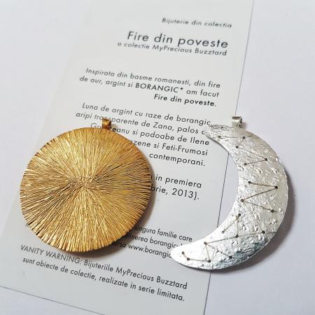 Brosa-Pandant Fibula - Soare si Luna - argint 9251