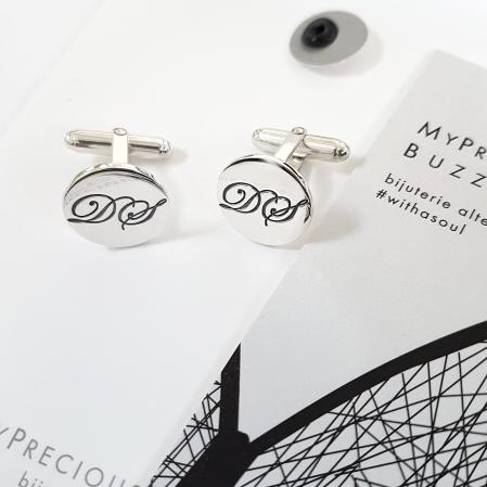 Butoni Custom Made cu ban personalizat initiale - argint 9250