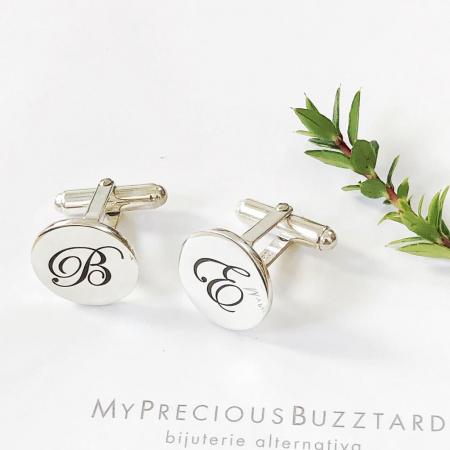 Butoni Custom Made cu ban personalizat initiale - argint 9254