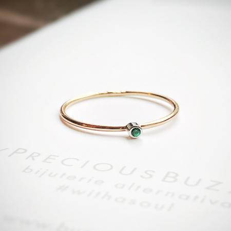 Inel Fire din poveste cu smarald natural 1,3 mm - aur 14k1
