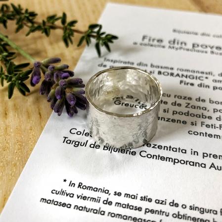 Inel Fire din poveste ciocanit - argint 9252