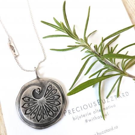 Pandant Fir de ROZmarin cu ban si paun simbol Mayura - argint 9251