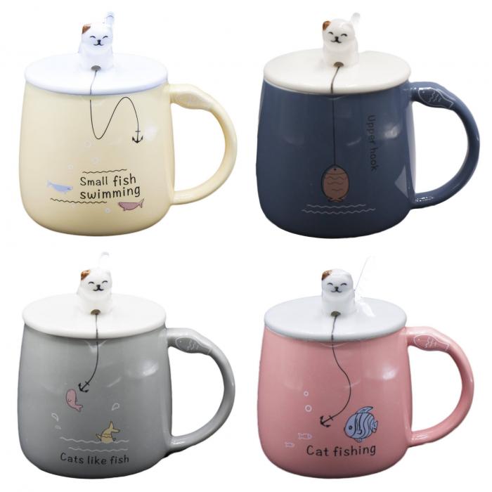 Cană din Ceramică pentru Ceai și Cafea cu Capac și Linguriță - Cat Fishing [0]